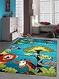 Kinderteppich Spielteppich Kinderzimmer Teppich Zootiere Niedliche Bunte Tiere mit Elefant Giraffe Löwe Zebra Affe Türkis Orange Grün Grau Rot Creme