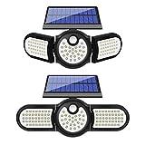 FAISHILAN 2 Pack Solar Security Lights, 112 LED Solar Motion Sensor Lights, 3 Adjustable Heads Solar Powered Outdoor Lights, IP65 Waterproof 270° Wide Illumination Security Flood Light