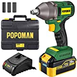 Impact Wrench, Brushless 20V MAX Cordless, 4.0Ah Li-ion Battery, 300 Ft-lbs Max Torque with 3 Speed Transmission, 1/2' Hog Ring Anvil, 2.0A Fast Charger, 3 Sockets, Tool Box - POPOMAN BHD850B