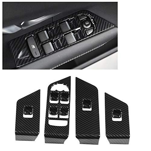 Cubierta del botón de elevación de la ventana del coche, 4 piezas ABS Marco de ajuste de la cubierta del botón de elevación de la ventana de fibra de carbono para Range Rover Evoque 12-17