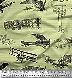 Soimoi Beige Viskose Chiffon Stoff Streifen & Flugzeug