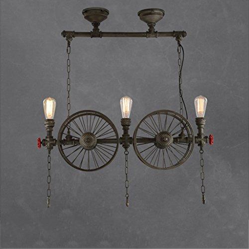 Modeen Industrielle Vintage Pendelleuchte Metall Wasserpfeife Lampe rustikale Steampunk Retro Decke 4 Lichter E27 Sockel Edison Lampe Kronleuchter, Eisen Rost Finish (Size : Three heads)