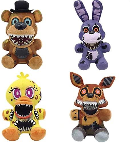 Five Nights at Freddy's Plushies, Nightmare FNAF Foxy Plush, Springtrap Plush, Chica Plush - Five Nights at Freddy's Party Supplies Gift for Kids (Twisted/4pcs)
