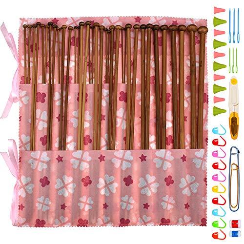 Coopay - Juego de agujas de tejer de bambú, 36 unidades, rectas, con bolsa de almacenamiento y accesorios básicos para herramientas de tejer, para principiantes, adultos, madera (2 mm a 10 mm)
