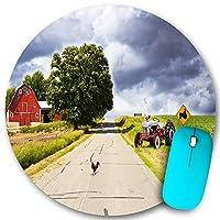 KAPANOU ラウンドマウスパッド カスタムマウスパッド、赤い納屋のある田舎道、PC ノートパソコン オフィス用 円形 デスクマット 、ズされたゲーミングマウスパッド 滑り止め 耐久性が 200mmx200mm