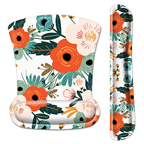 Ergonomic Mouse Pad with Wrist Support and Keyboard Wrist Rest Pad, iDonzon Cute Wrist Pad with Non-Slip Rubber Base and Raised Memory Foam, Easy Typing & Pain Relief, Flower