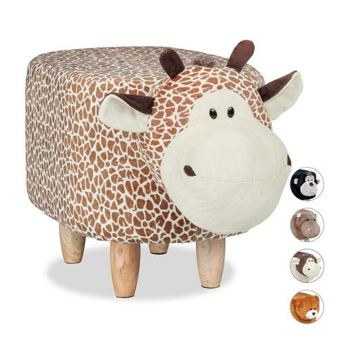 Relaxdays Tierhocker Giraffe, für Kinder, gepolstert, niedliche Dekohocker mit Tiermotiv, aus Holz, Schonbezug, beige-braun