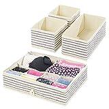 mDesign Juego de 4 cajas organizadoras – Cestas de tela para almacenaje en cajones de diferentes tamaños – Organizadores para armarios para guardar calcetines, ropa interior y más – crudo/azul
