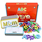 Curious Columbus A-Z Flash Cards with Magnetic Letters for Toddlers. 26 Alphabet Flashcards with 78 Foam Letters. ABC Toddler Games for Spelling and Phonics