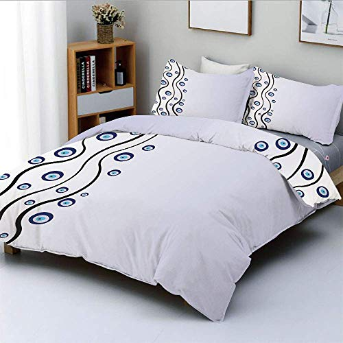 Set copripiumino, Amuleti a forma di occhio Linee ondulate verticali Felicità artistica Credenza magica Set di biancheria da letto decorativo 3 pezzi con 2 fodere per cuscini, blu nero lilla, miglior