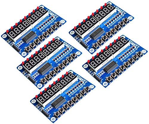 TECNOIOT 5pcs TM1638 Module Key Display 8-bit Digital LED Tube