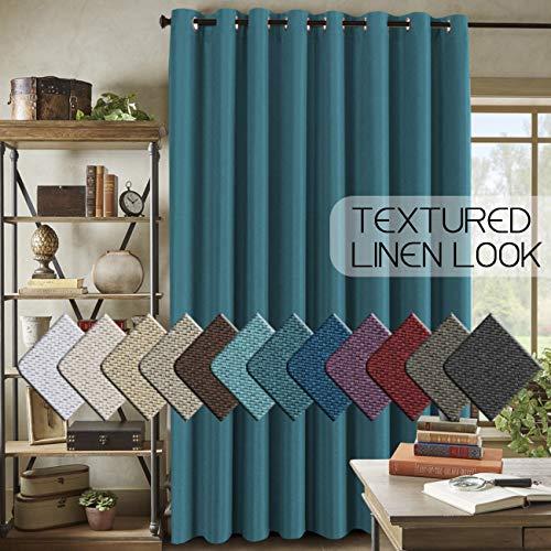 H.VERSAILTEX Room Darkening Linen Curtain for Sliding Door (100' W x 96' L) Extra Wide Primitive Burlap Textured Linen Room Divider Curtain for Living Room/Patio (8ft Tall by 8.5ft Wide, Aegean Blue)