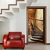 murimage Papel Pintado Puerta Escalera 3D 86cm x 200cm Incluyendo Pegamento escalón Madera antigüedades Castillo Entrada rústico Vintage gradas Foto Mural