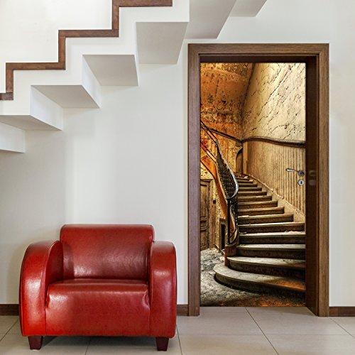 murimage Türtapete Treppe 86 x 200 cm inklusive Kleister Stufen Aufgang Vintage Shabby chic Antik Beige Braun Fototapete