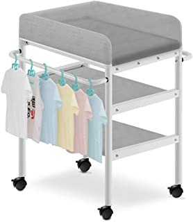 Baby Changing Diaper Station with Universal Wheel, Nursery Infant Dresser Storage, Suitable for 0-3 Years Old Young Child ...