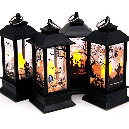 Seasons Stars SSDecor Halloween Portable Lanterns Orange Candle LED Halloween Lamp Lights, Spooky Skeleton Owl Bat Castle Flame Lights Hanging Lanterns for Home Party Porch House Bar