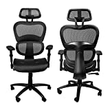 Komene Ergonomic Mesh Office Chair, High Back Computer Chairs with Adjustable Headrest backrest, 3D Flip-up Arms, Swivel Executive Chairs More Comfortable for Height Under 5′11″