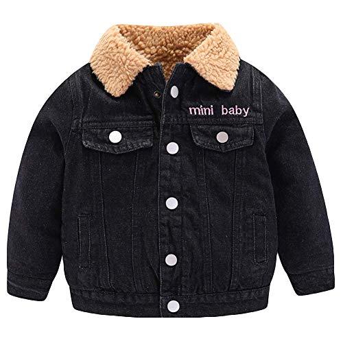 AMIYAN Winter Denim Jacket Baby Jungen Mädchen Jeansjacke mit Fell Gefütterte Warm Winterjacke Winter Mantel Dicke Outerwear 1-7 Jahre, Schwarz, 110