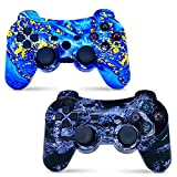 CHENGDAO Wireless Controller 2 Pack Compatible with Playstation 3 with High Performance Motion Sense Double Vibration and Charging Cable (Blue + Violet)