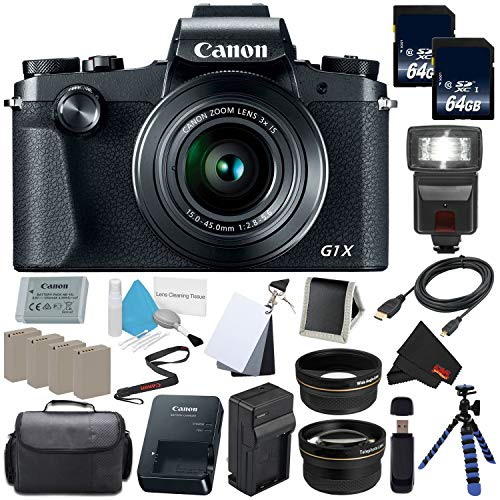 Canon PowerShot G1 X Mark III Digital Camera #2208C001 International Version (No Warranty) + Replacement Lithium Ion Battery + External Rapid Charger + 128GB SDXC Memory Card Bundle