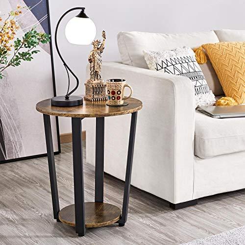 Yaheetech Beistelltisch Nachttisch Nachtkommode mit Metallbeine stapelbarer Sofatisch Vintage Kaffeetisch Industrie-Design