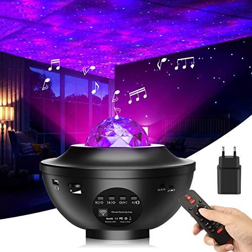 LED Sternenhimmel Projektor, LEHXZJ Sternenlicht Projektor mit Fernbedienung Farbwechsel Musikspieler mit Bluetooth & Timer für Party Weihnachten Kinder Zimmer Dekoration