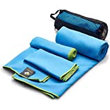 OlimpiaFit Microfiber Towels - Quick Dry 3 Size Pack (51inx31in, 30inx15in, 15inx15in) Camping, Sports, Beach, Backpacking, Gym, Travel Towels with Bag - Soft, Compact, Lightweight, Blue