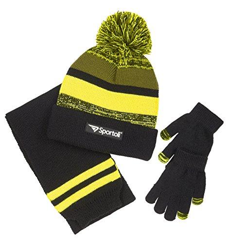 Sportoli Boys' Kids Knit Cold Weather Accessory Set Warm Hat, Scarf and Gloves (Black/Lime/Grey)