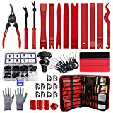 BYNIIUR Trim Removal Tool, 2021 New Professional Auto Car Panel Door Audio Removal Tool Kit, Clip Fastener Remover Pry Tool Set, Glove & Magnetic Holder Included,Red
