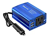 150W Power Inverter DC 12V to 110V AC Car Outlet Adapter with 2 USB Ports and Car Converter for Plug Outlet