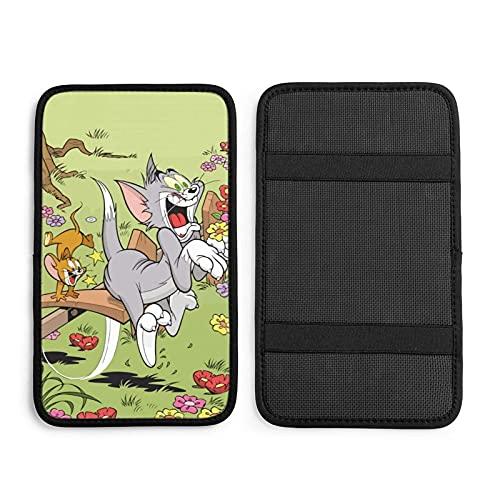 Tom and Jerry están jugando en el cojín del reposabrazos del coche – Universal Auto Center Console Pad Cover Soft Handrail Box Protector Decoración Coche Accesorios
