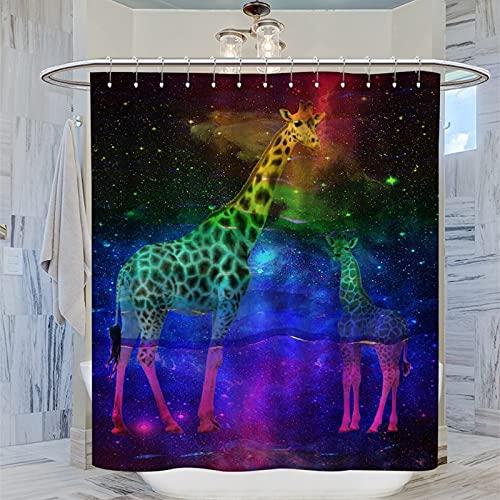 Duschvorhang mit Giraffen-Motiv & Mutter & Baby, aus Polyester-Stoff, wasserdicht, 12 Haken, 183 x 200 cm