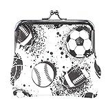 Billetera Deportes Fútbol Béisbol Monedas de Tinta Negra Monederos Bolsos Portatarjetas de Cambio de Cuero Cartera Bolso de Mano