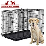 BestPet Dog Crate Cage Kennel Large Metal Wire Home Folding Double-Door Plastic Tray Pet Crate with Handle and Divider,42'