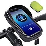Bike Phone Mount, Shockproof Motorcycle Phone Holder for 7' Cellphone, Bike Accessories - Waterproof / Detachable / 360° Rotatable Phone Holder for Bike Handlebar, with Rain Cover, Black