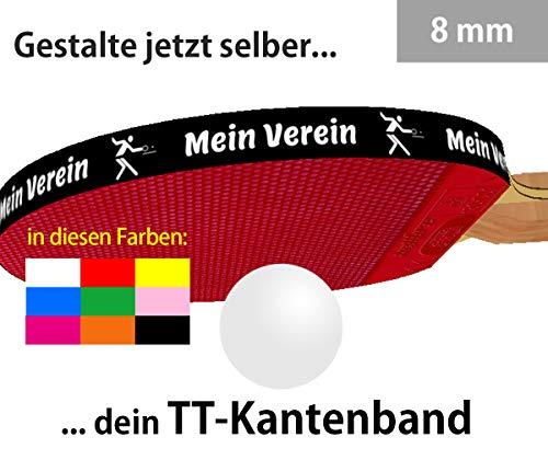 3 STK. Tischtennis Kantenband 8 mm mit eigenem Text in Verschiedenen Farben
