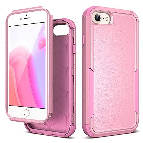 ULAK Cover per iPhone SE 2020 con Disegni 3 in 1 Resistente in PC Rigido + Morbido TPU Bumper Antiurto per Apple iPhone SE 2020/iPhone 8/iPhone 7/iPhone 6s/iPhone 6 4.7 Pollici, Rosa