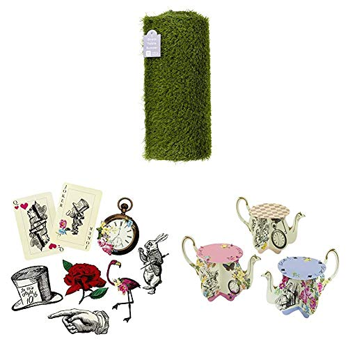 Talking Tables Artificial Grass Table Runner, Alice in Wonderland Party Décor Props, floral centrepiece teapot vase | Mad Hatter Afternoon Tea Party Tableware Decorations birthday parties