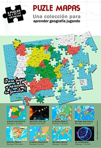 Incal Ediciones 8 puzles de 120 Piezas de 40 x 30 cm. Mapas de España, Europa, Mundo y Planetas. Puzzle geografia. Rompecabeza mapas