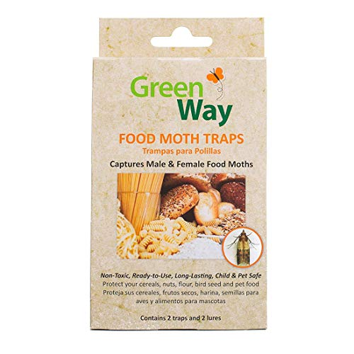 GreenWay Food Moth Trap - Contains 2 Traps and Lures per Box | Pheromone Attractant, Ready to Use | Safe, Non-Toxic with No Insecticides or Odor, Eco Friendly, Kid and Pet Safe