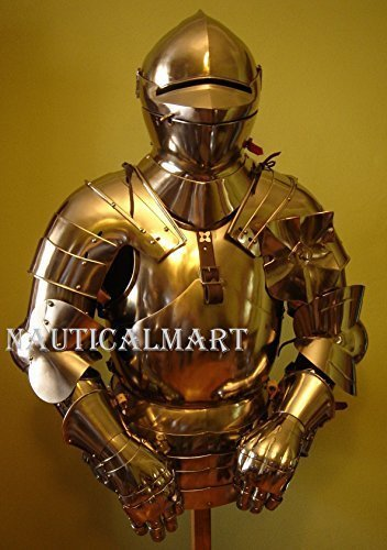 Armor disfraz medieval de acero traje de Armor Pechopetral con casco - Nauticalmart
