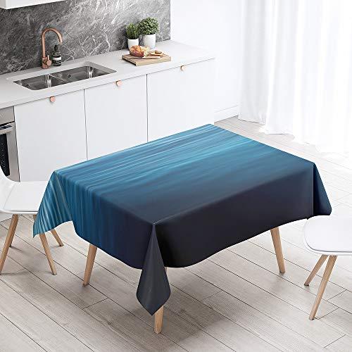 Fansu Antimanchas Mantel para Mesa Rectangular, Superficie del Lago impresión 3D Mantel Impermeable Lavable Poliéster - Adecuado para Decorar Cocina Comedor Salón (Calma,140x140cm)