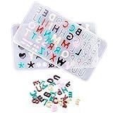 CALISTOUK 2pcs Molde de resina de silicona Minil para letras y números Alfabeto Joyas Mol...