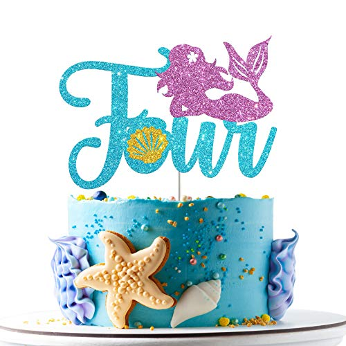 Mermaid Four Cake Topper, Happy 4th Birthday Cake Decor, I'm Four Sign, Little Mermaid Birthday Party Decoration Supplies, Daughter of the Sea, Under the Sea Themed, Ocean Themed