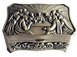"""Holy Family Nice Last Supper Rosary Eucharistic box Christian Roman Catholic Size : 3.5""""X 1.2"""" (8cm x5.5cm x3.5cm) Material: Metal Plated Silver"""