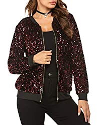 Mermaid Sequin Long Sleeve Zipper Front Bomber Jacket With Pockets