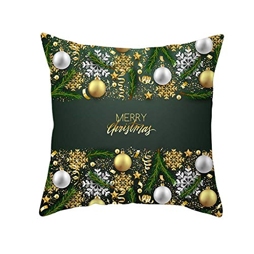 LEEDY Christmas Pillow Case, Glitter Polyester Sofa Throw Cushion Cover for Home Bedroom Sofa Office Decor Supplies, 45cm x 45cm