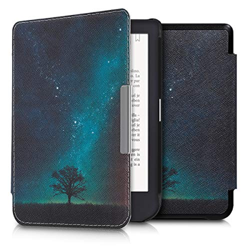 kwmobile Hülle kompatibel mit Tolino Shine 3 - Kunstleder eReader Schutzhülle - Galaxie Baum Wiese Blau Grau Schwarz