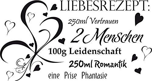 GRAZDesign Hochzeitsgeschenke Wandtattoo modern Romantik Leidenschaft - Wandaufkleber Wohnzimmer Wanddeko Liebesrezept - Wandtattoo für Schlafzimmer / 94x50cm / 810160_50_070
