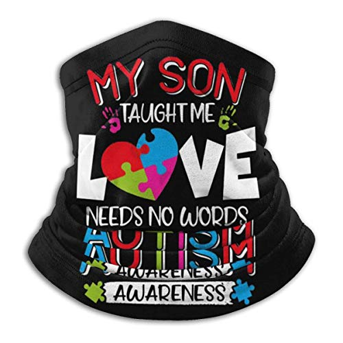 Overlooked Shop Pasamontañas Mi Hijo me enseñó Que el Amor no Necesita Palabras Autismo AwarenE-s-s Rompecabezas Cubierta Facial Polaina para el Cuello Pasamontañas Multifuncional